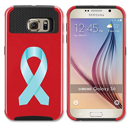 Red Awareness Ribbon (For Samsung Galaxy (S7 Edge) Shockproof Impact Hard Soft Case Cover Prostate Cancer Color Awareness Ribbon)