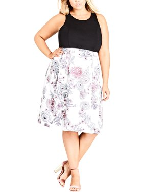 f64591664c Product Image City Chic Womens Plus Floral Print Mixed Media Party Dress  B/W 16W