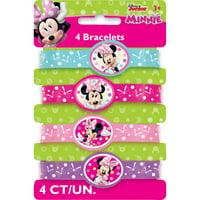 Minnie Mouse Rubber Bracelet Party Favors, Assorted, 4ct