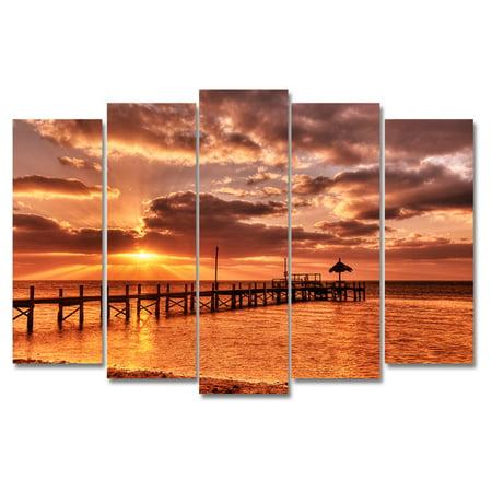 Ready2HangArt Sunrise Pier Canvas Wall Art - 5 pc. Set