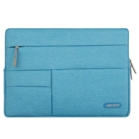 Mosiso Laptop Sleeve Bag for 12.9 iPad Pro / 13-13.3 Inch MacBook Air / MacBook Pro, Polyester Fabric Multifunctional Accessory Storage Case Cover, Sky Blue