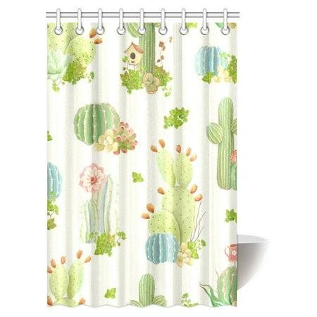BPBOP Cactus Decor Shower Curtain Nature Flowers And Succulents Plants Art Print Fabric Bathroom