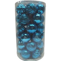 Holiday Time Teal 60mm Christmas Shatterproof Ornament, Set of 41