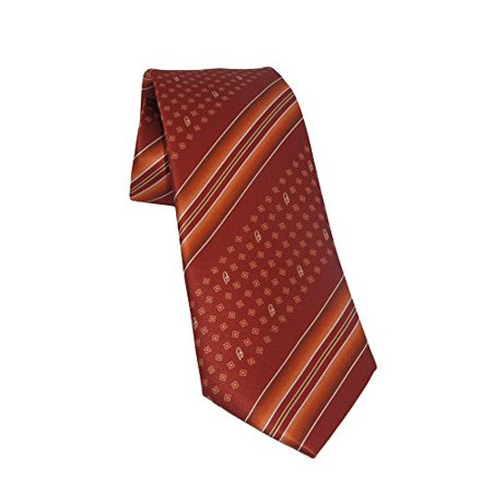 Brioni Italy Men's Orange Geometric Striped 100% Silk Skinny Neck Tie [Apparel]