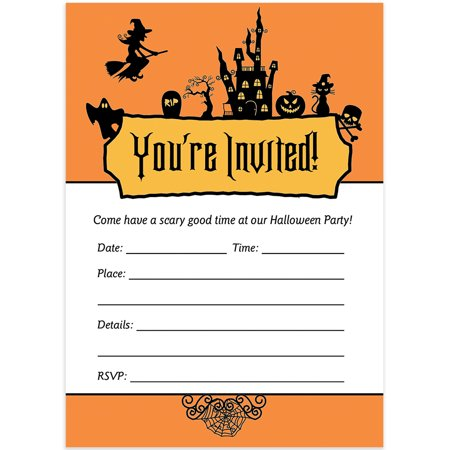 25 Halloween Party Invitations with Envelopes ( Pack of 25 ) Adult or Child Party Large Blank 5x7
