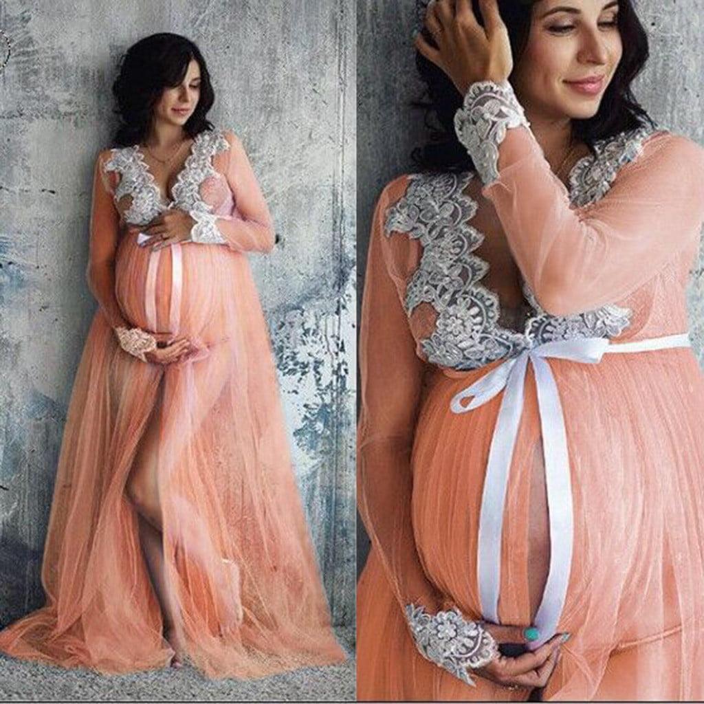 Women Lace Maternity Dress Womenpregnancy Lace Long Maxi Dress Walmart Com Walmart Com