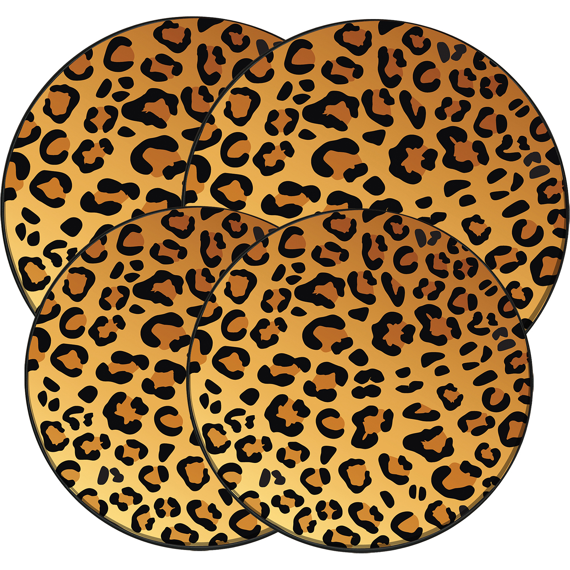 "Range Kleen 4-Piece Burner Kover Set, Round, Decorative ""In The Wild-Leopard"""