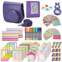 Xpix Accessory Kit for Fujifilm Instax Mini 8, 8+ & 9 includes, (Purple) Case, Album, selfie mirror, colored close up Lenses, 40 film frames, 12 color markers & Complete Bundle