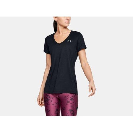Under Armour Women's UA Tech V-Neck Shirt 1255839-002 Black