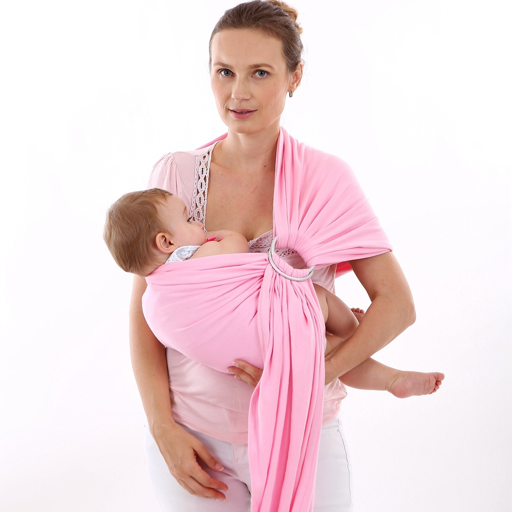 Baby Wrap Carrier- All-in-1 Stretchy Baby Wraps - Baby Sling - Infant Carrier - Babys Wrap - Hands Free Babies Carrier Wraps | Great Baby Shower Gift (Pink)