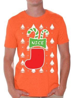 6be7e089 Product Image Awkward Styles Nice Christmas Stocking Tshirt for Men Naughty  or Nice Shirt Ugly Christmas T Shirt