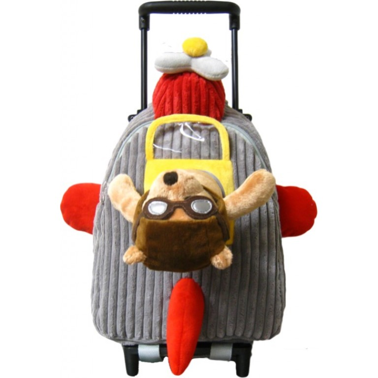 Kids Airplane Pilot Teddy Bear Animal Plush Luggage Toddlers Roller Backpack