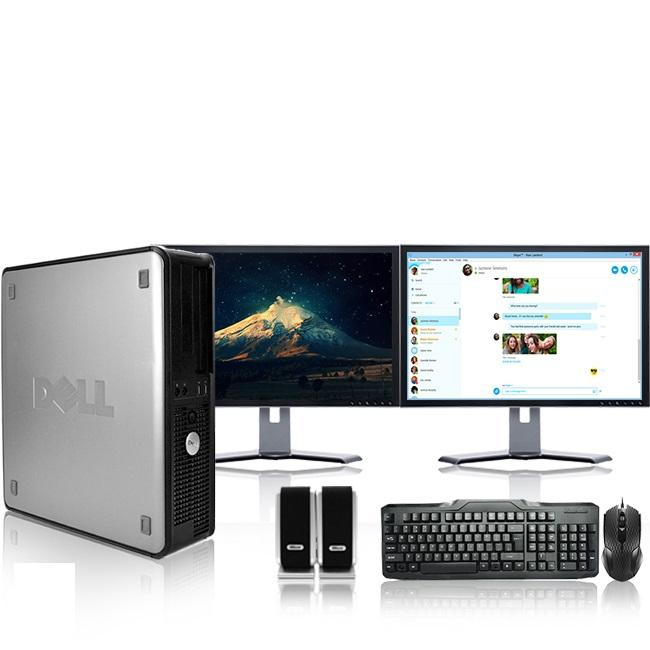 "Dell Optiplex Desktop Computer 2.8 GHz Core 2 Duo Tower PC, 4GB RAM, 250 GB HDD, Windows 7, ATI , Dual 19"" Monitor (Brands Vary), USB Mouse & Keyboard"