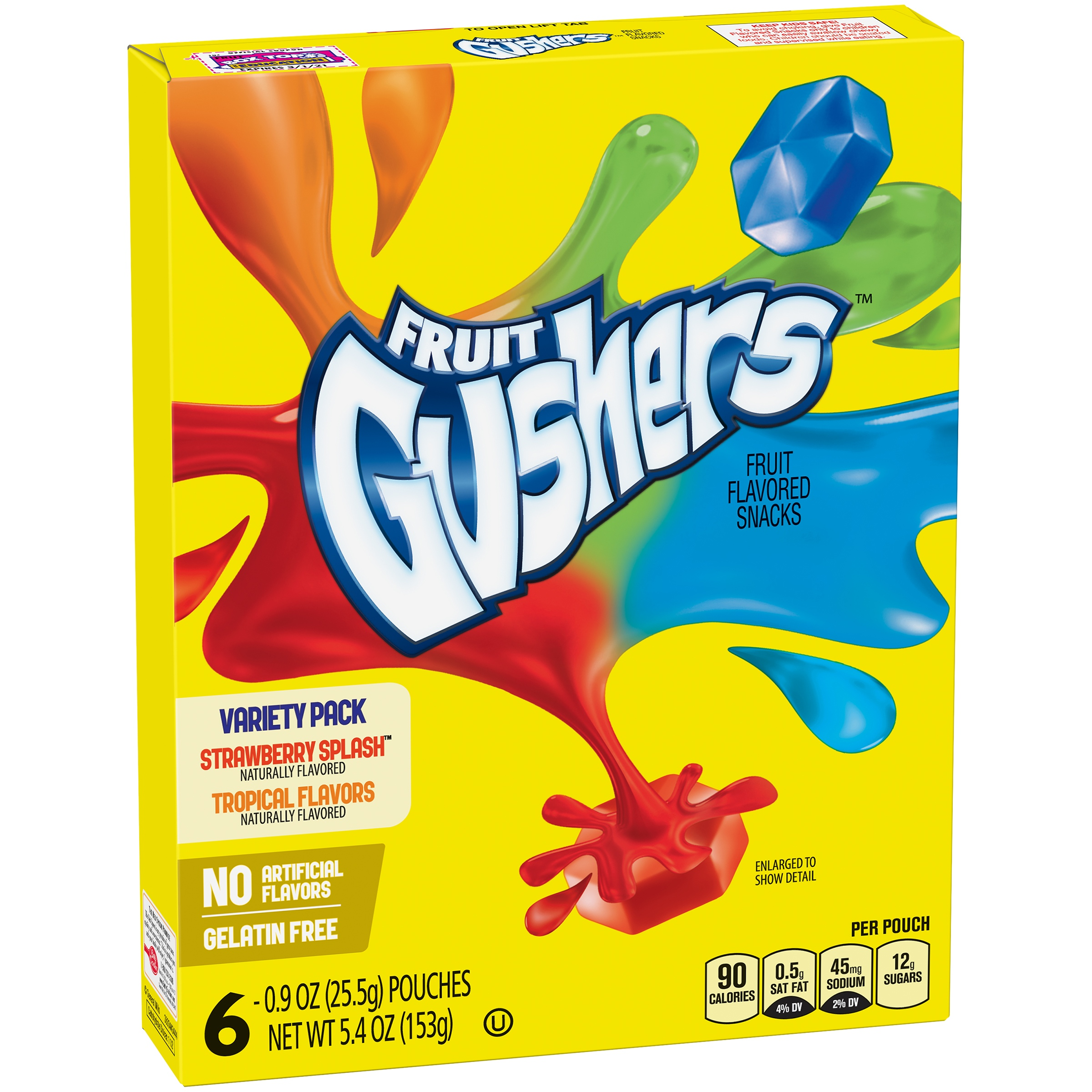 Betty Crocker® Gushers, Strawberry Splash and Tropical Flavors, 6 Ct