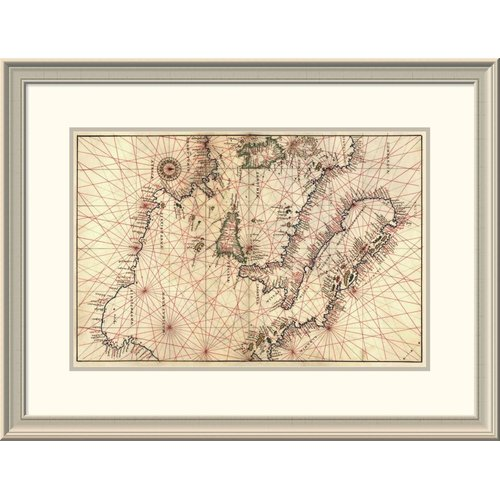 East Urban Home 'Portolan Map of Italy, Sicily, North Africa & the Mediterranean' Framed Print