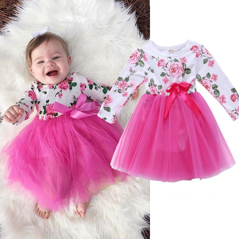 Dream Room Dresses Toddler Infant Kids Baby Girls Autumn Clothes Floral Long Sleeve Princess Party Dress