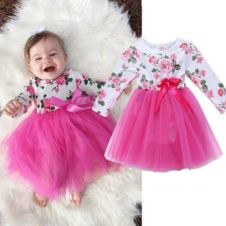 Christmas Newborn Toddler Baby Girls Long Sleeve Floral Tutu Princess Party Dress Kids Clothes](Christmas Dresses For Children)