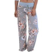 Summer Bohemian Flowy Printed Palazzo Pants for Women High Waist Drawstring Waist Loose Beach Yoga Lounge Pants Trousers S-3XL
