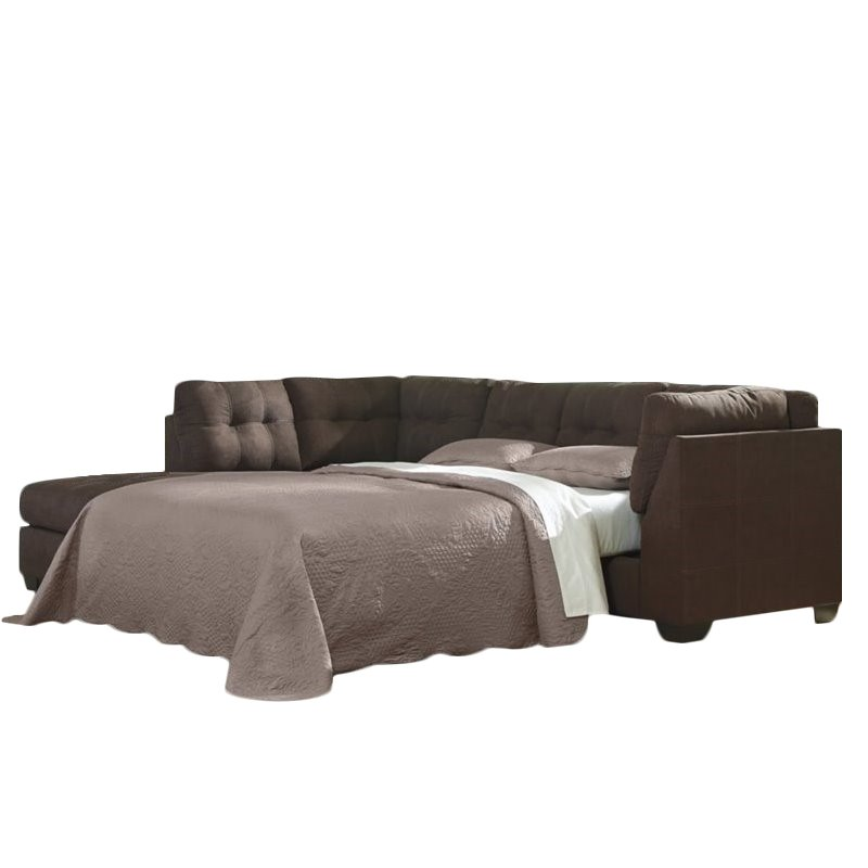 Ashley Maier 2 Piece Left Fabric Chaise Sleeper Sectional in Walnut by Ashley Furniture