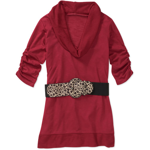 No Boundaries Juniors Cowl Neck Belted Sweater Tunic