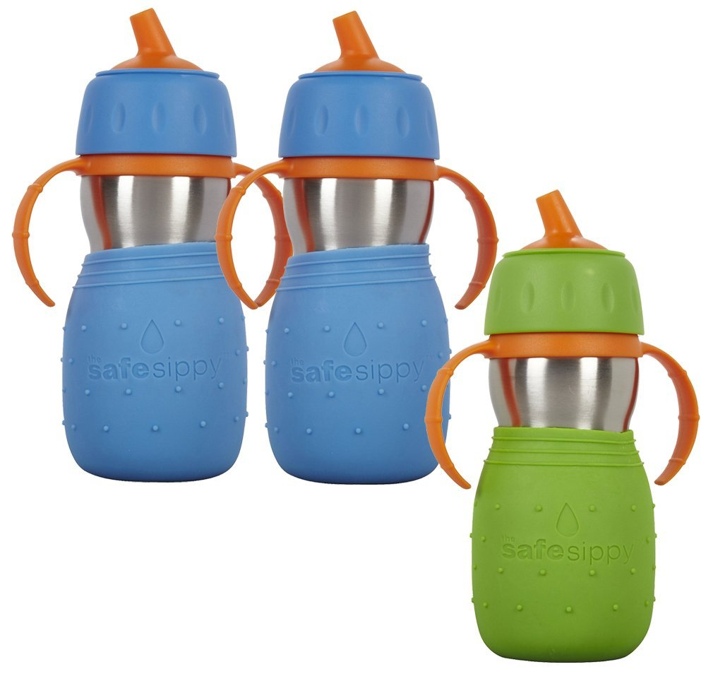 The Safe Sippy Cup, 3 Pack, Green/Pink