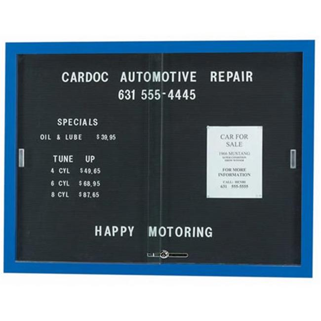 Aarco Products SDC3648B Enclosed Bulletin Board Letter Panel with Aluminum Frame - Blue