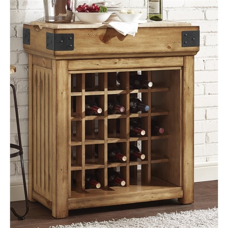 Crosley Roots Bistro Kitchen Island with Wine Rack in Light Brown