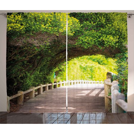 Bridge 2 Light (Forest Curtains 2 Panels Set, Nature Boardwalk Through Green Archway Bridge Foliage Trees Sunny Summer Day, Window Drapes for Living Room Bedroom, 108W X 90L Inches, Beige Green Brown, by Ambesonne)