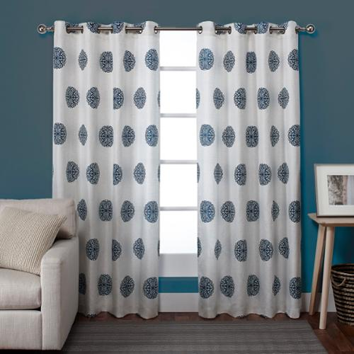 ATI Home  Sedgewick Linen Blend Grommet Top 84-inch Curtain Panel Pair