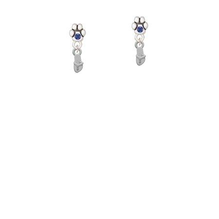 Austrian Crystal Flip Flop - Mini Flip Flop - Blue Crystal Paw Earrings