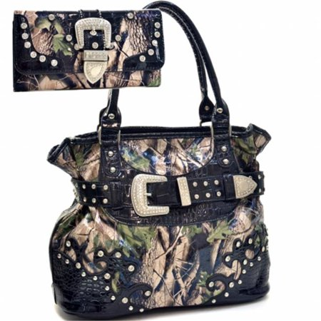 Ritz Enterprises BT920SET-TQ Western Camouflage Belt Buckle Rhinstone Bling Purse with Matching Wallet, Blue