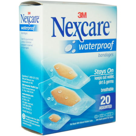 Clear Bandages (3 Pack - Nexcare Waterproof Clear Bandages Assorted 20 Each)