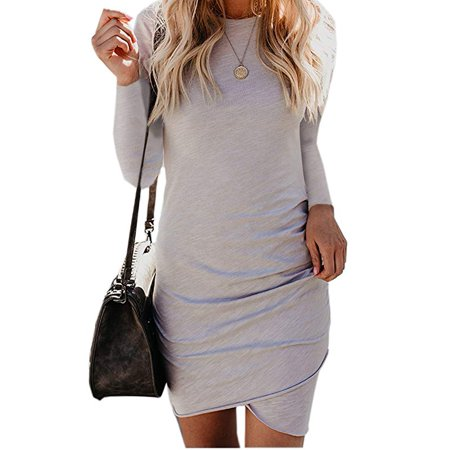 Women's Long Sleeve Tulip Bodycon Dress Ruched Short Mini (Tulip Sleeve Dress)