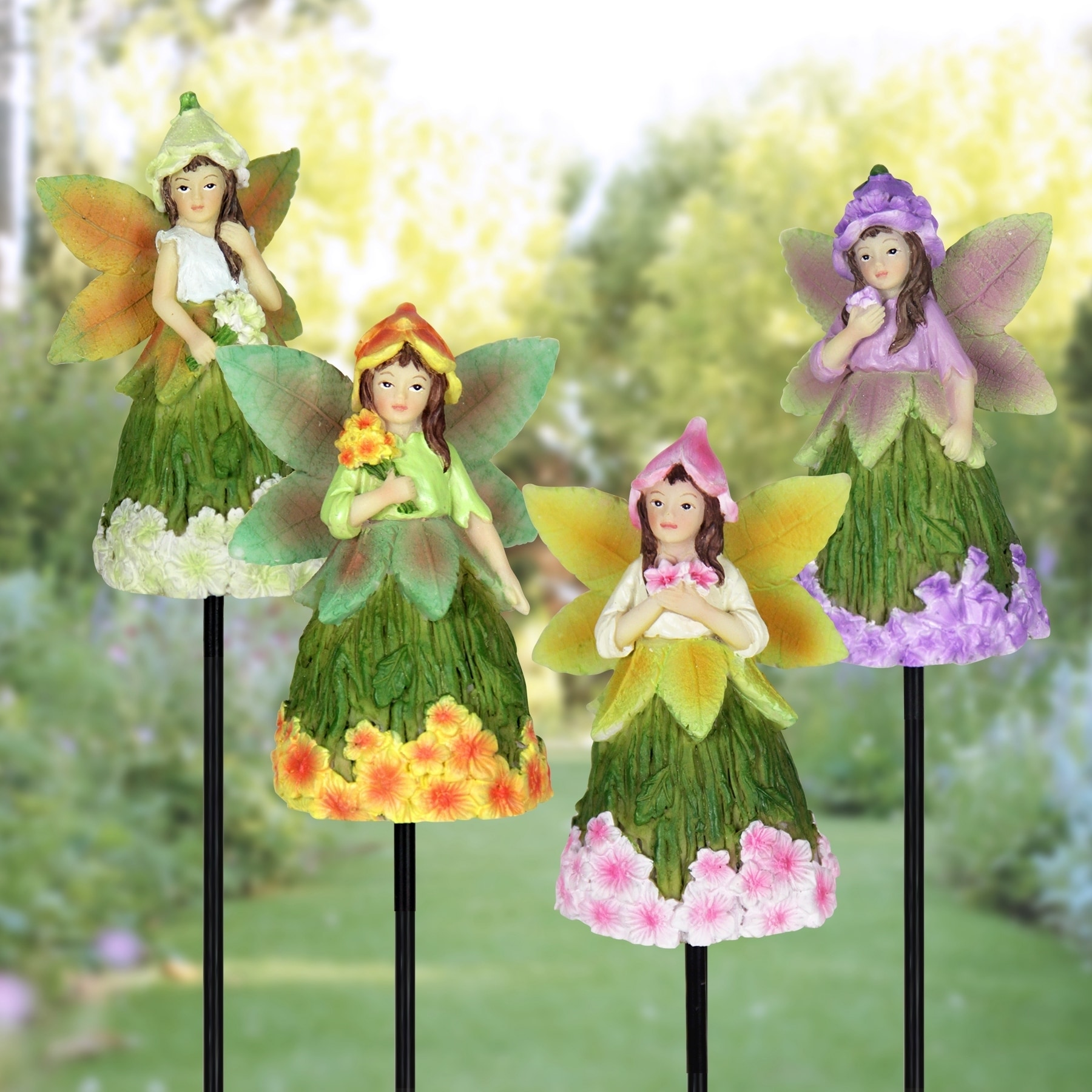 Exhart 9 inch Fairy Stakes with Floral Skirts - Set of 4