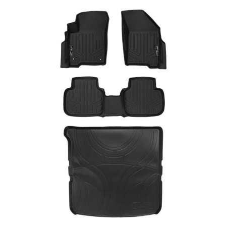 Maxliner 2012-2018 Dodge Journey With 1st Row Dual Hooks Floor Mats 2 Rows Maxtray Cargo Liner Behind 2nd Row Set Black A0198/B0198/D0198 ()