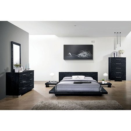 Contemporary Look Black Finish Bedroom Furniture 4pc Eastern King Size Bed  Set