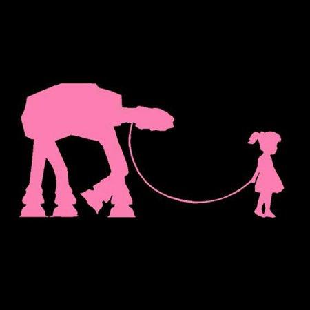 Girl Walking an AT-AT Decal Sticker | Starwars Parody | Fan Art | Pink Series | Vinyl Decal | Car Decal | 6.5-Inches (Halloween Parody Art)