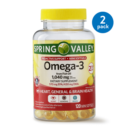 (2 pack) Spring Valley Omega-3 from Fish Oil Proactive Health, 1040 mg Omega-3, 120 Mini Softgels ()