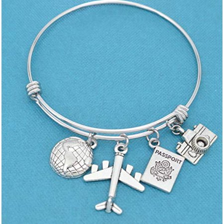 - World traveler bangle bracelet in stainless steel with earth, airplane, passport and camera charms in silver tones. Gift for traveler.
