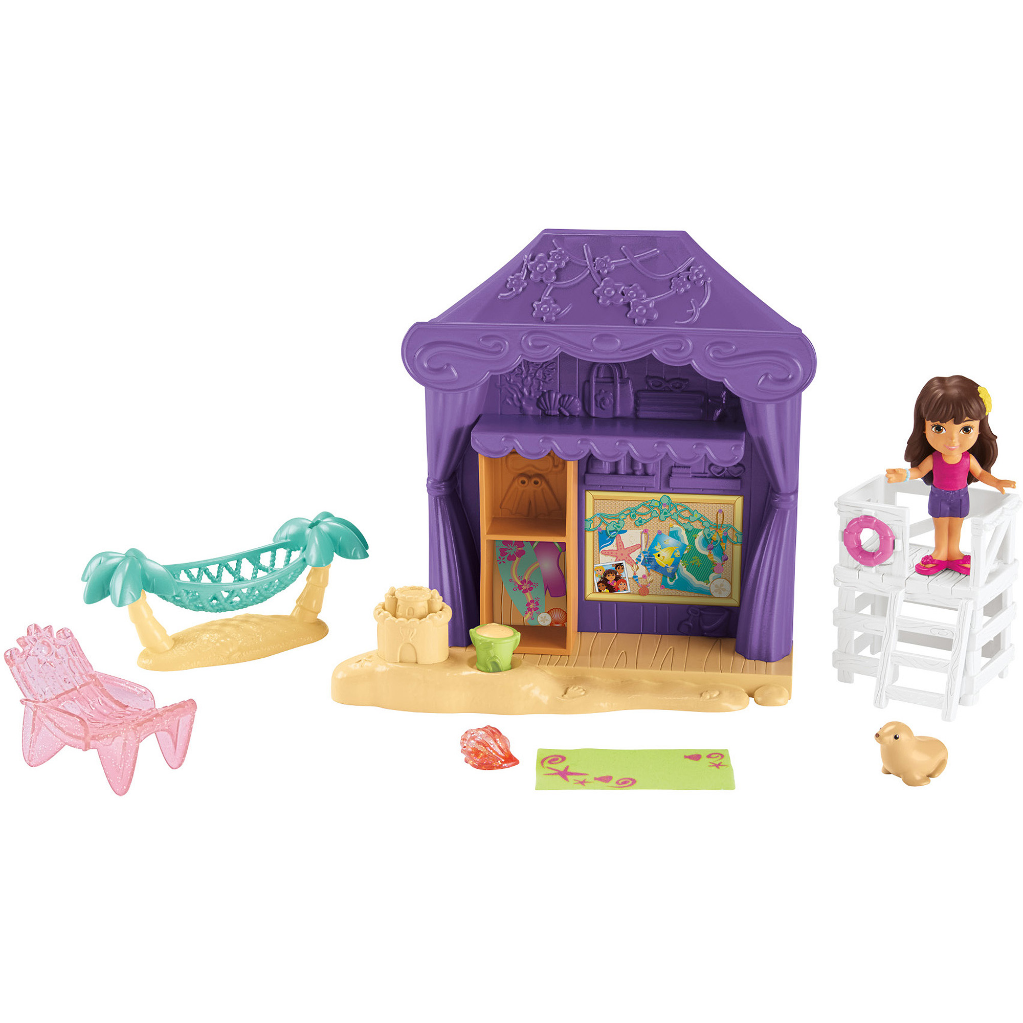 Fisher-Price Dora and Friends Playa Verda Cabana Playset