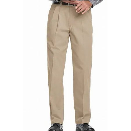 Lee Mens 50x30 Khakis Relaxed-Fit Pleat-Front Pants Pleats Relaxed Fit Khakis