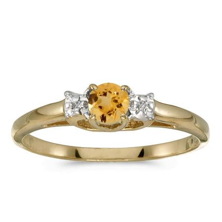 14k Yellow Gold Round Citrine And Diamond Ring 14k Yellow Gold Citrine Ring