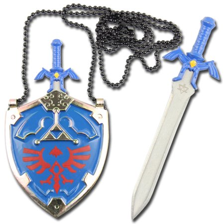 Legend of Zelda Hylian Shield Link's Master Sword Necklace, Blue