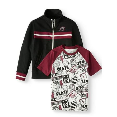 Wonder Nation Track Jacket and Tee 2pc Set (Little Boys, Big Boys, & Husky) (Nike Boy Coat)