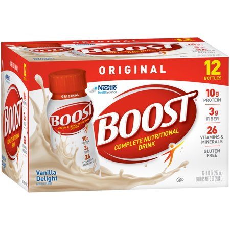 BOOST ORIGINAL Complete Nutritional Drink, Vanilla Delight, 8 fl oz Bottle, 12 Pack