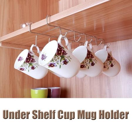 Jeteven Mug Holder Coffee Tea Cup Rack Storage Kitchen Under Shelf Cabinet Hanger 10 Hooks