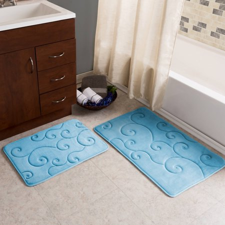 Somerset Home Memory Foam Bath Mat Set, 2-Piece, Coral Fleece Embossed Pattern - White Contact Lenses Non Prescription