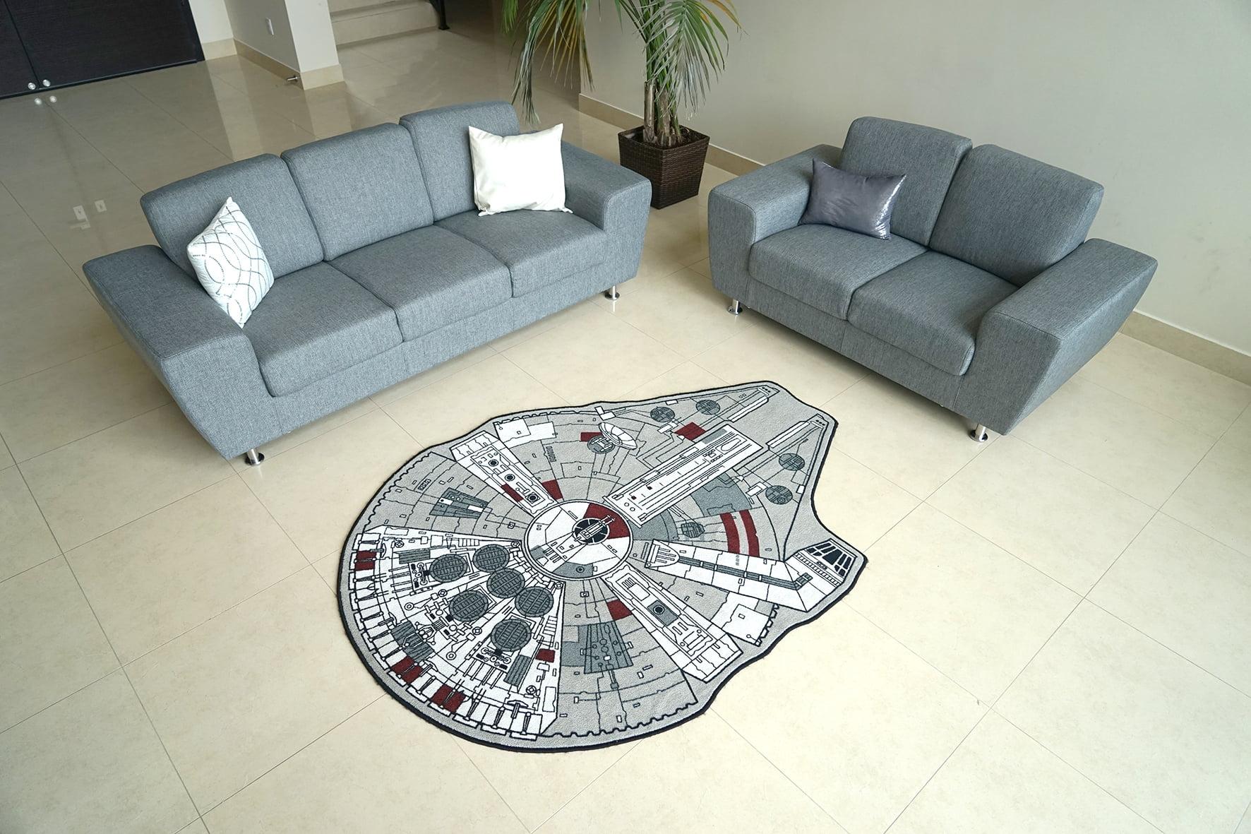 """Star Wars Millenium Falcon Rug 59"""" L x 79"""" W Walmart"""