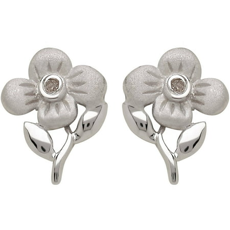 e307597a3c50b Sweet Treasures - Girls' Diamond Accent Flower Sterling Silver Stud ...