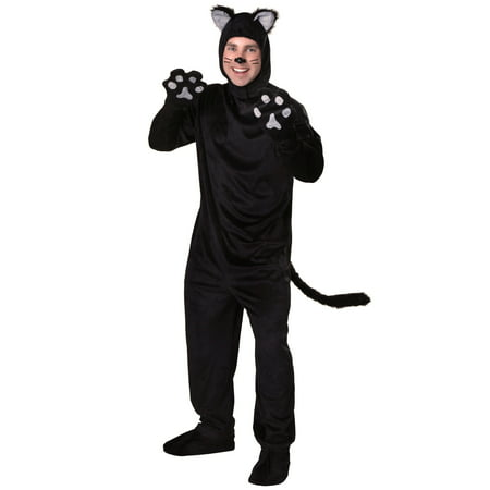 Men's Deluxe Black Cat Body Suit Costume 4 Piece set (M) - Little Girl Black Cat Costume